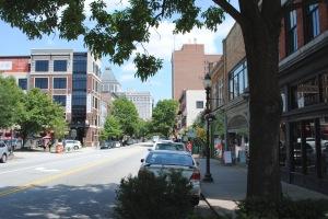 looking north on Elm street in Greensboro at Natty Greene's