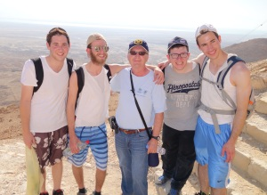 Steve and American Jewish friends at Masada (Dead Sea in the background).