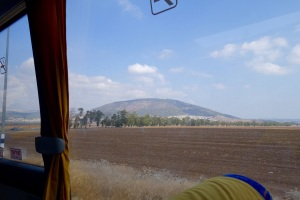 Tabor--the mountain of Jesus's Transfiguration, from a bus window