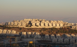 "Har Homa, an Israeli ""settlement"" near Bethlehem, with the mountains of ancient Moab in the background"