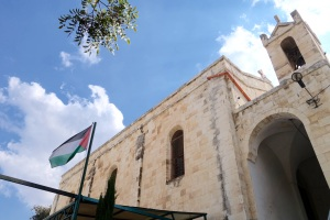 St. Philip Church (Anglican) in Nablus, West Bank, with Palestinian flag