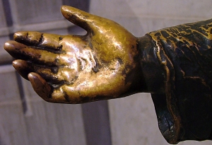 """The hand from the statue """"Jesus Blesses the Children"""" at the National Cathedral."""